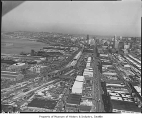Aerial of Alaskan Way Viaduct under construction from south, Seattle, 1957