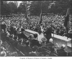 Woman receiving citizenship at Woodland Park ceremony, Seattle, July 4, 1939