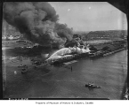 Fire at West Coast Wood Preserving Co. on Harbor Island, Seattle, March 28, 1947