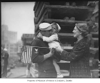 U.S.S. Humphreys sailor with wife and child, probably in Seattle, 1937