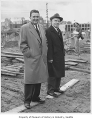 Joseph Gandy and Secretary of Commerce Luther Hodges at construction site for Seattle World's...