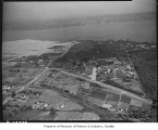 Aerial of Sand Point Housing Project site looking east, Seattle, 1940