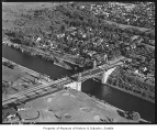 Aerial of Montlake bridge and neighborhood from northwest, Seattle, 1946