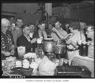 Woman serving soup to WPA strikers, Seattle, 1937