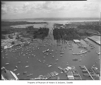 Aerial of yachts in Portage Bay from west, Seattle, 1964