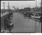 Boats in Ballard locks, Seattle, 1941