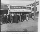 Crowd outside Fryes Packing House Market, Seattle, 1943