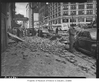 Earthquake damage on Second Avenue, Seattle, April 1949