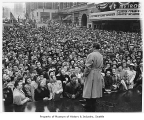 Bob Hope speaking to crowd in Victory Square, Seattle, 1942