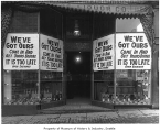 Keystone Liquor Company signs at start of Prohibition, Seattle, ca. 1916