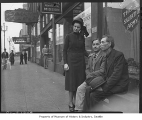Salvation Army worker Ruth Clarke with two men, Seattle, May 1940