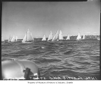Start of International Flattie race on Lake Washington, August 11, 1958