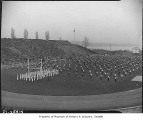 Garfield High School band and drill team in Husky Stadium, Seattle, 1937