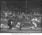 Seattle Rainiers player at bat, Seattle, April 25, 1948