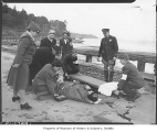 Civil defense workers in first aid drill, Vashon Island, 1942