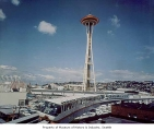 Space Needle and monorail, Seattle, World's Fair, 1962