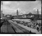 Crowds meeting Freedom Train at King Street Station, Seattle, 1948