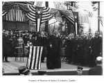 Former President Theodore Roosevelt speaking at the University of Washington, Seattle, April 6,...