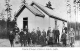 Students outside Oak Lake School, 1894
