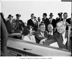 President John F. Kennedy and others in convertible, Seattle, September 1960