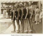 Olympic swimmers Eleanor Holm, Georgia Coleman, Jane Fauntz, Agnes Geraghty, and Helene Madison,...
