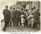 Alaska-Yukon Pioneers Committee presenting a key to the city to sled dog Balto at Pier 52,...