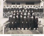 Female yeomen in front of building at the U.S. Naval Training Station, University of Washington,...