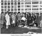 Rooftop groundbreaking for construction at downtown Seattle Bon Marché, 1954