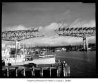 Lake Washington Ship Canal Bridge under construction, Seattle, December 27, 1960
