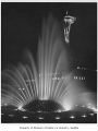 International Fountain and Space Needle at night, Seattle World's Fair, 1962