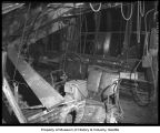 Earthquake damage inside the Frye Packing Plant, Seattle,1946