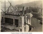 Fremont Bridge under construction, looking south toward Queen Anne, Seattle, October 7, 1916