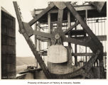 Montlake Bridge drawbridge mechanism, Seattle, January 23, 1924