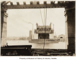 View north from underside of Ballard Bridge under construction, Seattle,  April 24, 1917