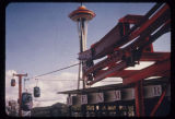 Skyride, with the Space Needle and the Denmark exhibit, Seattle World's Fair, 1962