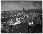 Fishing boats at dock, Seattle, 1936