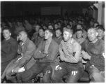 German prisoners watching atrocity newsreels at Fort Lawton during World War II, Seattle, 1945