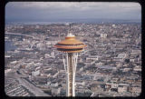 Aerial view, looking northeast, of the top of the Space Needle, Seattle, 1962
