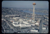 Aerial view, looking north, of the Space Needle and Seattle World's Fair grounds, 1962