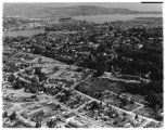 Aerial view,  looking northeast, of the construction of Interstate 5, Lakeview Boulevard section,...