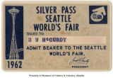 Silver Pass for the Seattle World's Fair, 1962