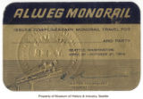 Alweg Monorail Gold Card, Seattle World's Fair, 1962