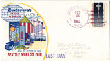 Last Day cover featuring an illustration of the Boulevards of the World exhibit with a stamp of...