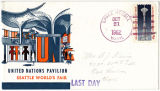Last Day cover with an illustration of the United States Pavilion, Seattle World's Fair, 1962