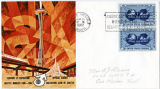 Seattle World's Fair envelope featuring an illustration of the Space Needle and monorail with...