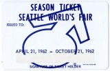 Unused season ticket for the Seattle World's Fair, 1962