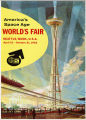 Poster with illustration of the Space Needle, monorail, and Century 21 Exposition fairgrounds, 1962
