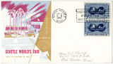 "Seattle World's Fair envelope featuring an illustration of the U.S. Science Pavilion and ""Atoms..."