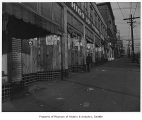 Vacant stores after evacuation of Japanese Americans, Seattle, 1942
