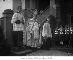 Bishop Edward John O'Dea with acolytes, Seattle, ca. 1932
